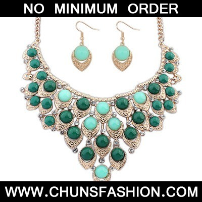 Green Multilayer Hollow Out Beads Jewelry Set