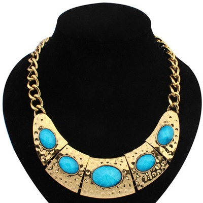 Blue Half Arc Shape With Necklace