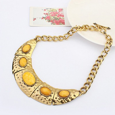 Yellow Half Arc Shape With Necklace