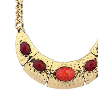 Claret Red Half Arc Shape With Necklace