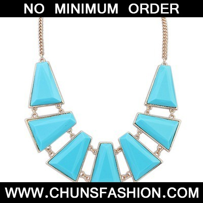 Light Blue Seven Geometric Shape Necklace