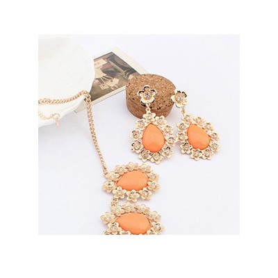 Orange Water Drop Shape Pendant Earring