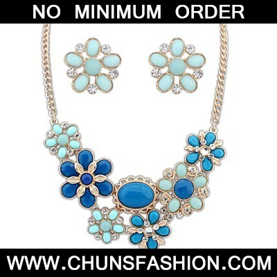 Blue Flower Jewelry Set