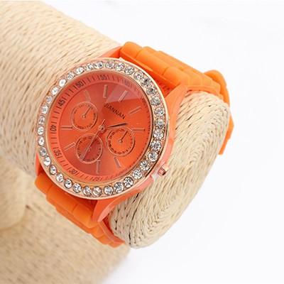 Orange Diamond Jelly Casual Silicone Watch
