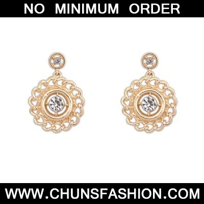 Gold Hollow Out Round Metal Earring