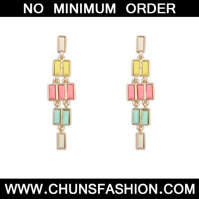MultiRectangle Long Dangle Earring
