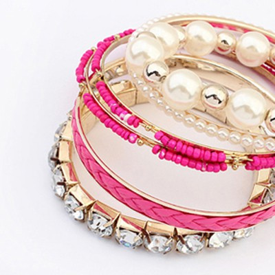 Plum Red Diamond Pearl Multilayer Bangle