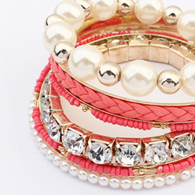 Peach Red Diamond Pearl Multilayer Bangle