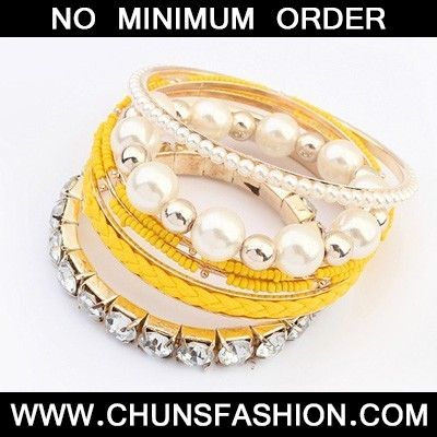 Yellow Diamond Pearl Multilayer Bangle