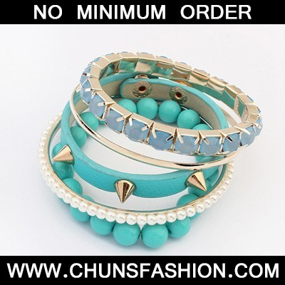 Blue Rivet Punk Style Bangle