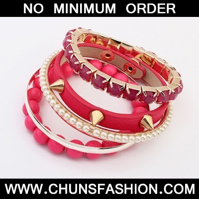 Plum Red Rivet Punk Style Bangle