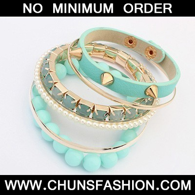 Light Blue Rivet Punk Style Bangle