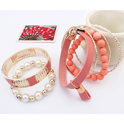 Pink Vintage Hollow Out Metal Pearl