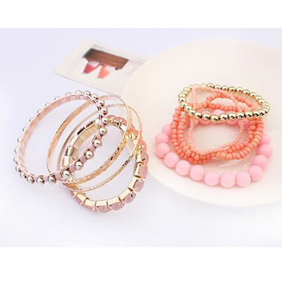 Pink National Wind Multilayer Beads Bangle