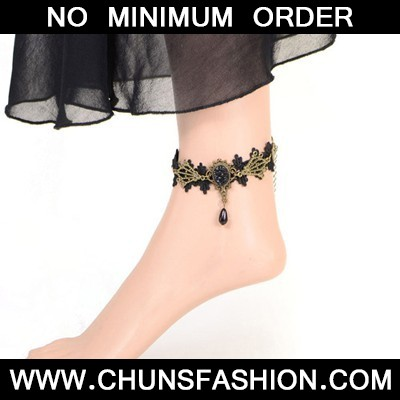 black flower Anklet