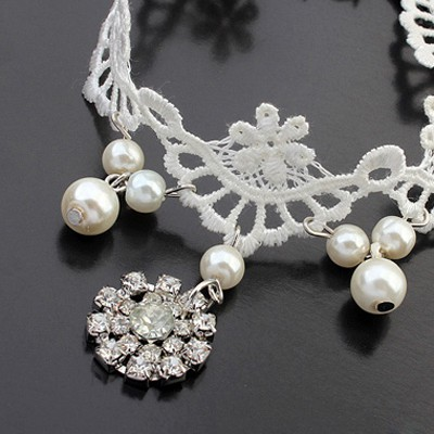white pearls lace Anklet
