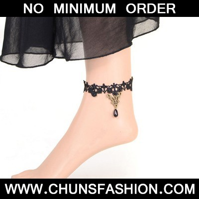 black beads flower Anklet