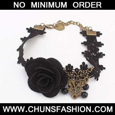 black flower lace Anklet