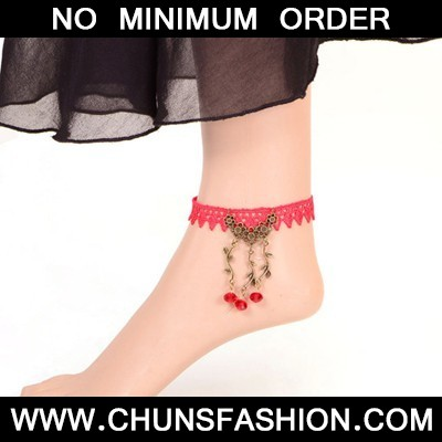 watermelon red lace Anklet