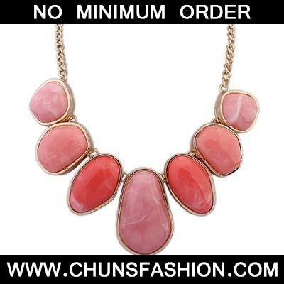 plum red geometrical shape Necklace