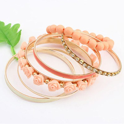 orange rose flower multilayer Bangle