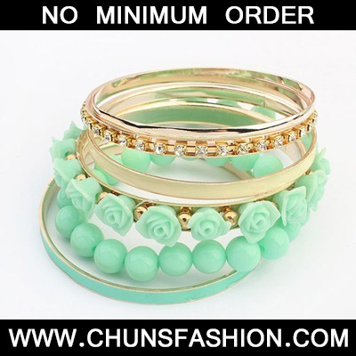 green rose flower multilayer Bangle