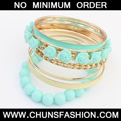 blue rose flower multilayer Bangle
