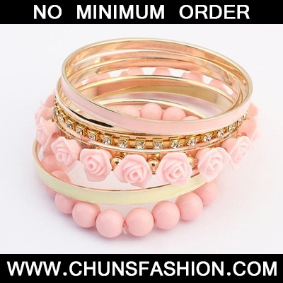 pink rose flower multilayer Bangle