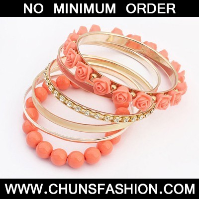 watermelon red rose flower multilayer Bangle