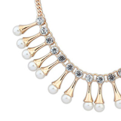 gold diamond pearl Necklace