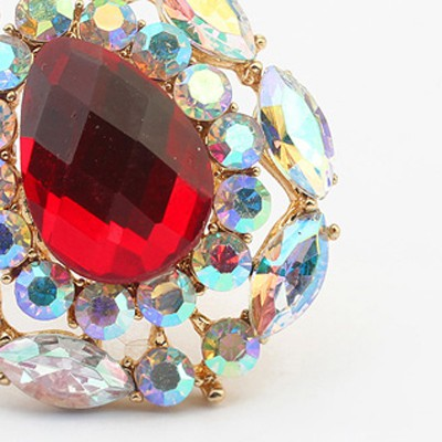 red waterdrop shape Ring