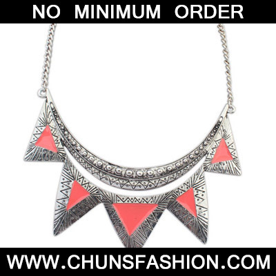 orange triangle shape Necklace
