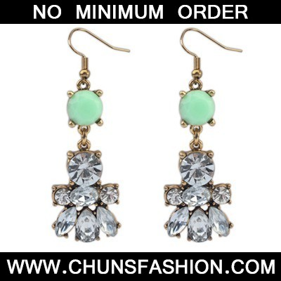 Green Diamond Bee Shape Earring