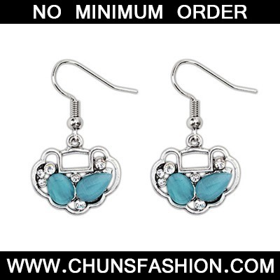 Blue Longevity Lock Shape Earring