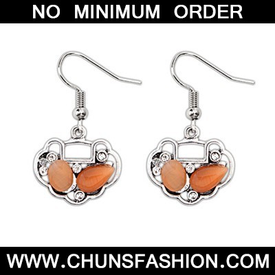 Orange Longevity Lock Shape Earring