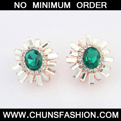Green Diamond Flower Stud Earring