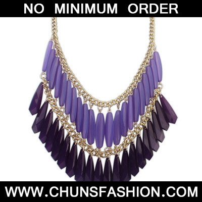 Purple Geometrical Shape Double tassel Necklace