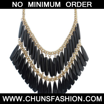 Black Geometrical Shape Double tassel Necklace