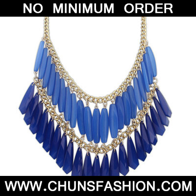 Blue Geometrical Shape Double tassel Necklace