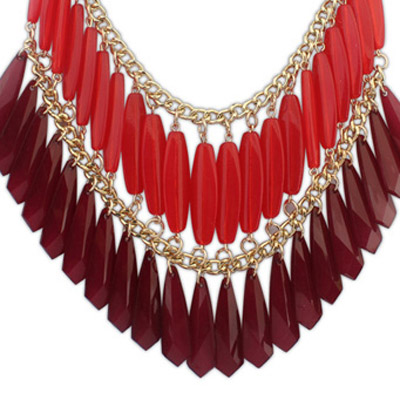 Red Geometrical Shape Double tassel Necklace