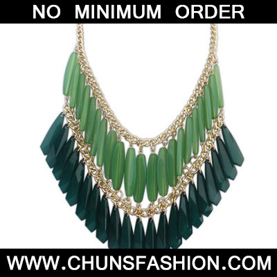 Green Geometrical Shape Double tassel Necklace