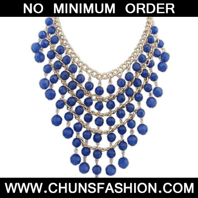 Blue Beads Multilayer Necklace
