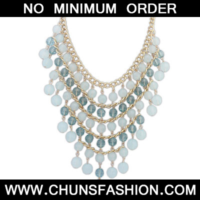 White & Light Blue Beads Multilayer