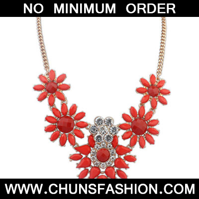 Red Diamond Flower Necklace