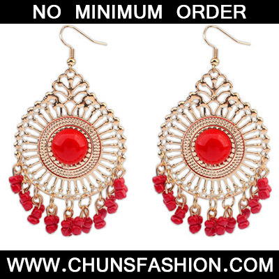 Red Round Shape Tassel Earring