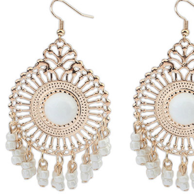 White Round Shape Tassel Earring