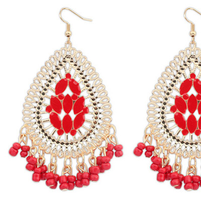 Red Waterdrop Shape Tassel Earring
