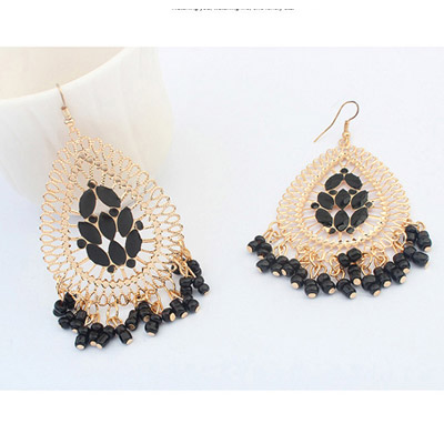 Black Waterdrop Shape Tassel Earring