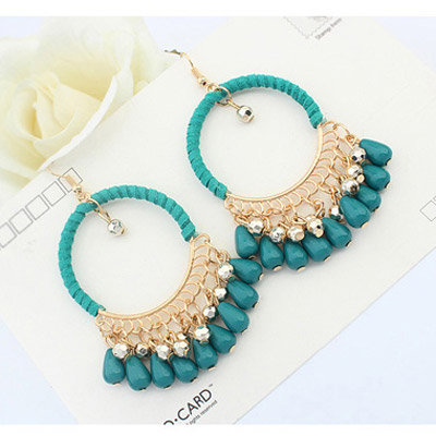 Green Tassel Hollow Circle Shape Earring