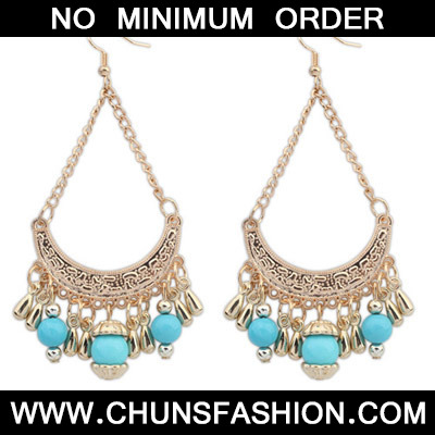 Light Blue Tassel Curve Shape Earring